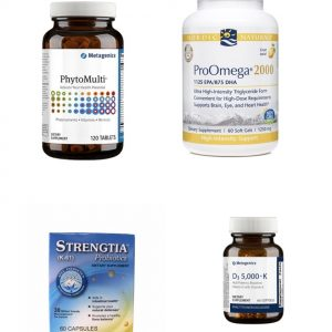 four bottles of dietary supplements