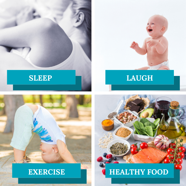 boost immune with sleep, laugh, exercise and healthy food