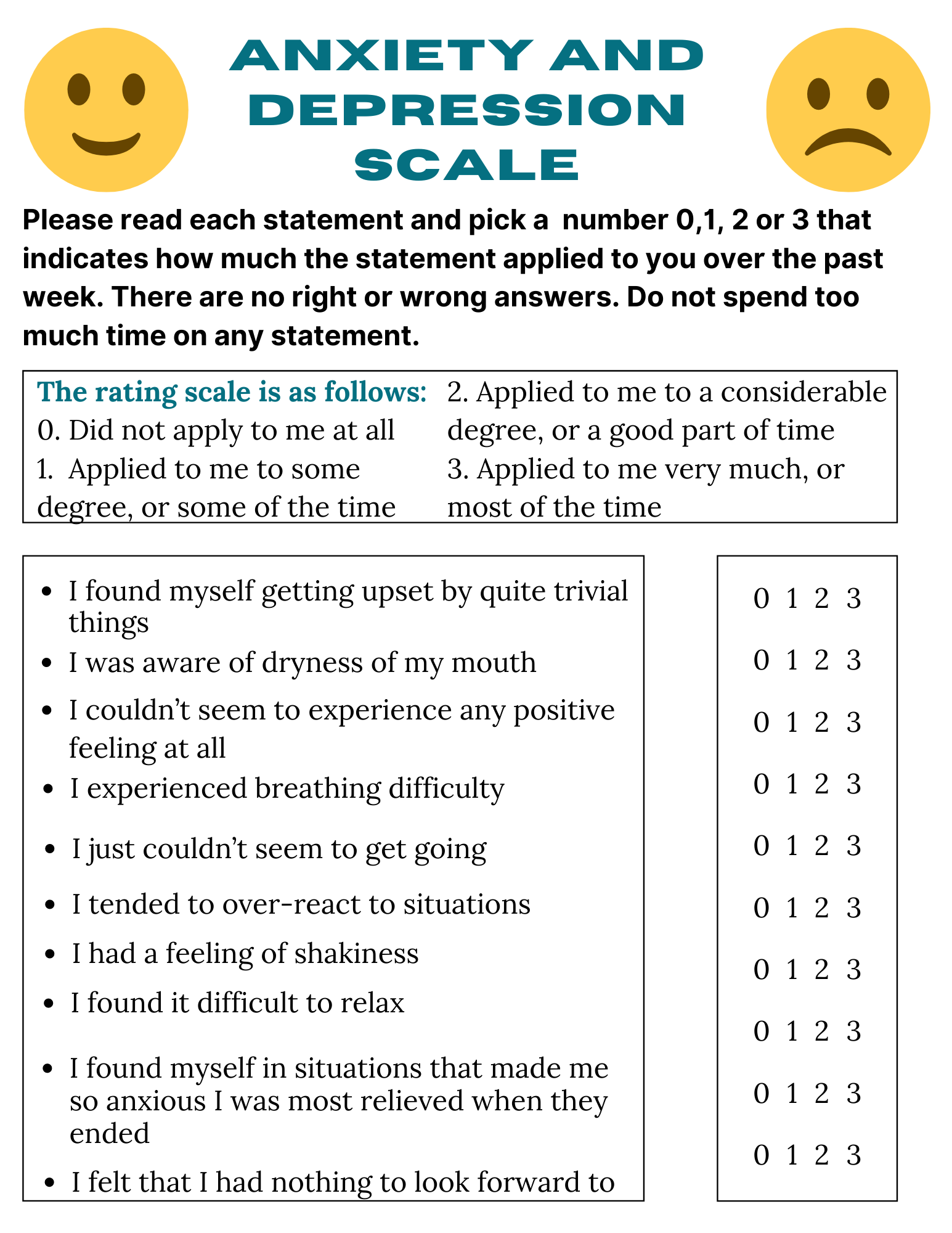 anxiety and depression scale