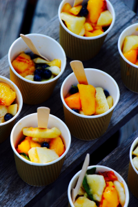 cups with fruit